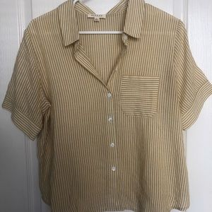Roolee button-up linen blouse, Yellow and Cream